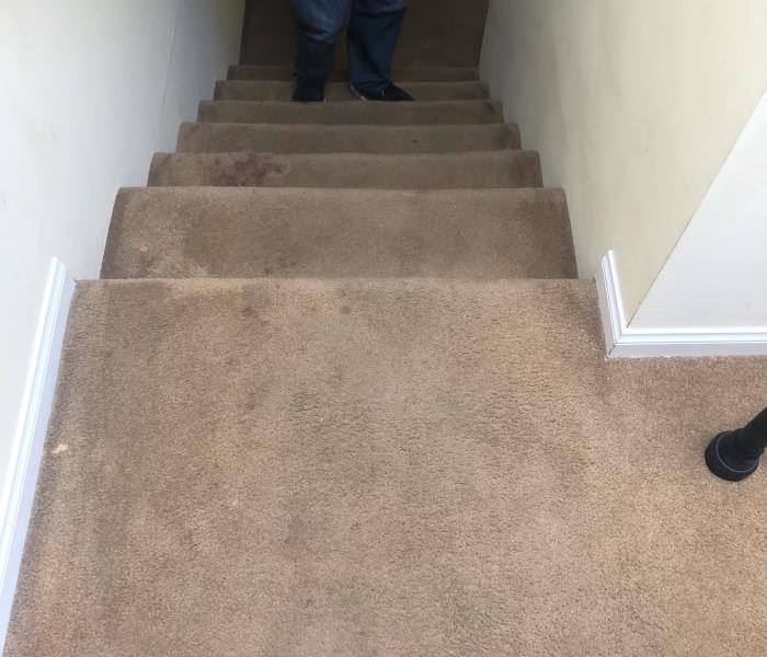 Carpeted stairs with soot damage.