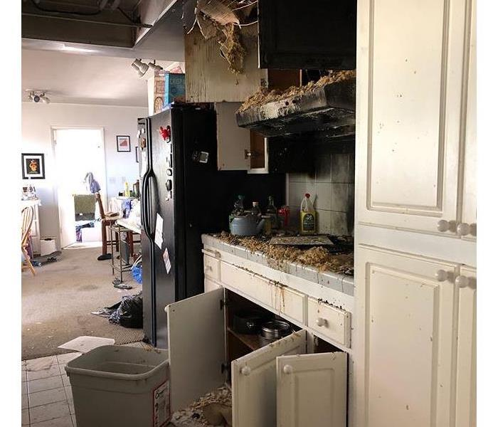 Kitchen burned from grease fire.