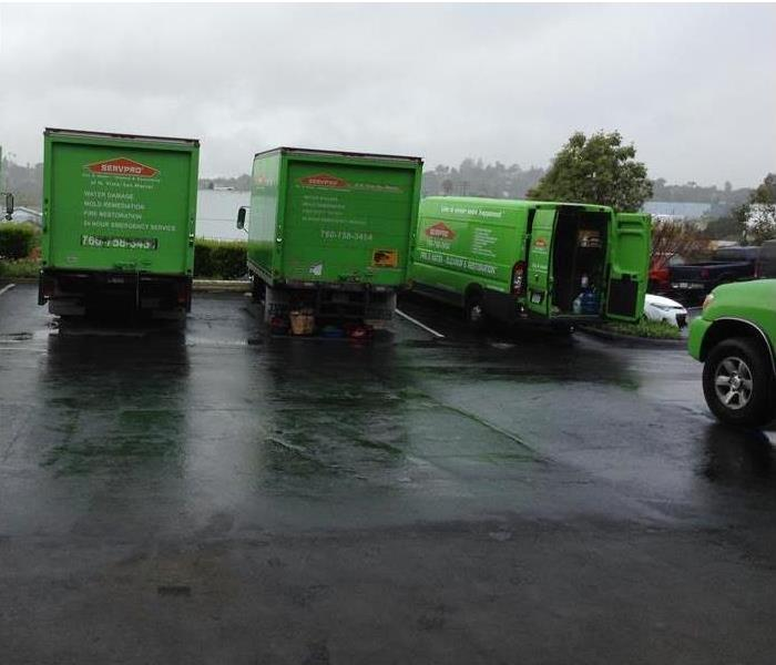 Green trucks in a rainy parking lot.