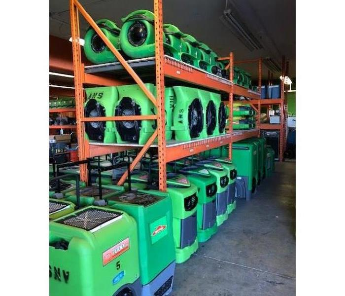 Bright green equipment in our warehouse.